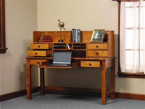 Rivertowne Amish Writing Desk With Storage Hutch Top Desks With Hutches Storage