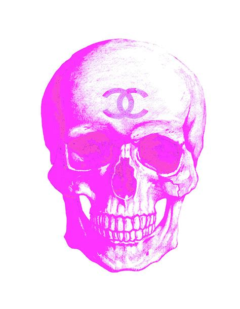 Skull Curtains Chanel Pink Skull Logo Poster Painting By Del Art