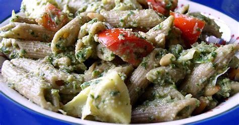 artichoke pesto pasta salad recipe  fatfree vegan