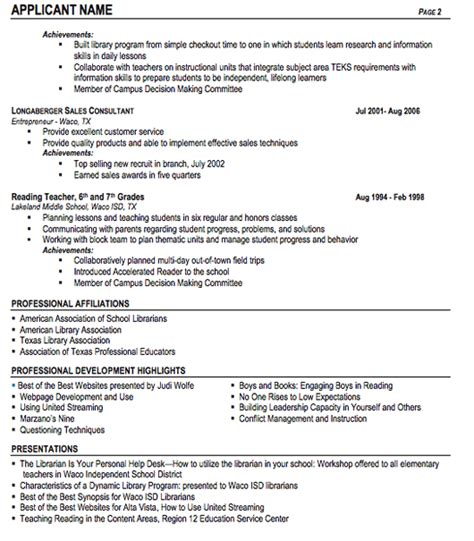 School Library Assistant Sle Resume by Resume Format For School Librarian 28 Images Librarian Resume Template 6 Free Word Pdf