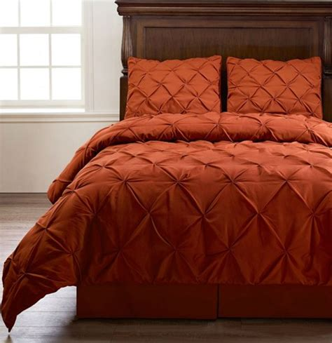 burnt orange comforter emerson burnt orange king size 4pc pinch pleat puckering