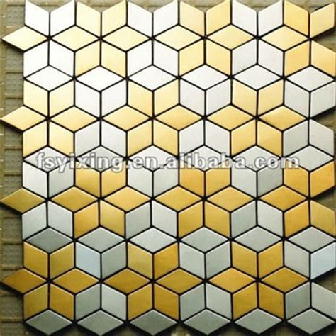 Home Decoration Quotes rhombus blend cube golden stainless steel kitchen wall