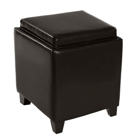 brown leather storage ottoman with tray rainbow contemporary storage ottoman with tray in brown