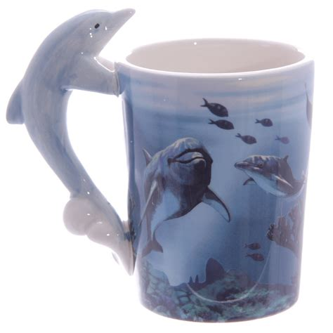 Printed Mug With Cover ceramic sealife printed mug with dolphin shaped handle