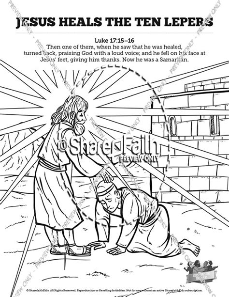 coloring pages jesus heals 10 lepers luke 17 ten lepers sunday school coloring pages sunday