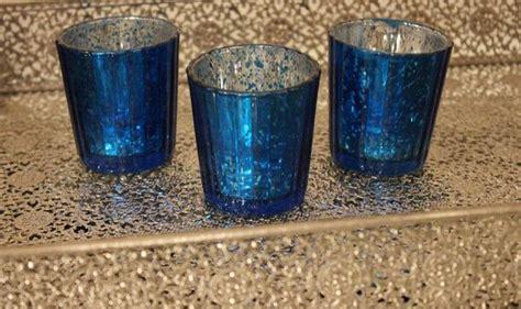 royal blue tea light holders set of 10 mercury glass blue cobalt navy dark blue