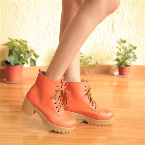 Jr High Heel Shoes 185 22 european style thick heel lace up wedge ankle boots us 22 87 sold out