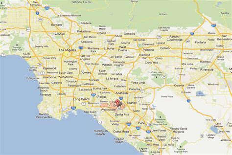 Garden Grove Ca Directions Garden Grove California Map