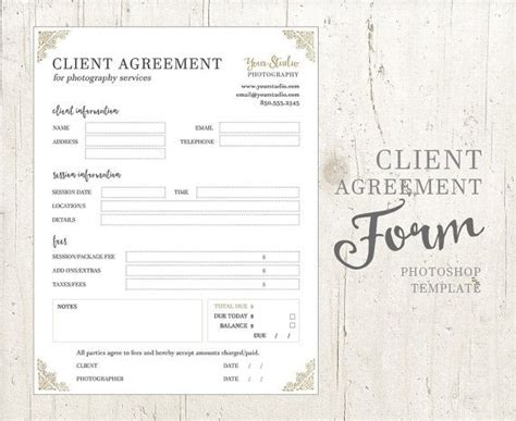 client agreement form template client agreement form for photographers photography