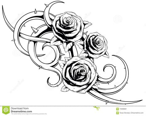 black and white roses tatto stock vector image 70596881