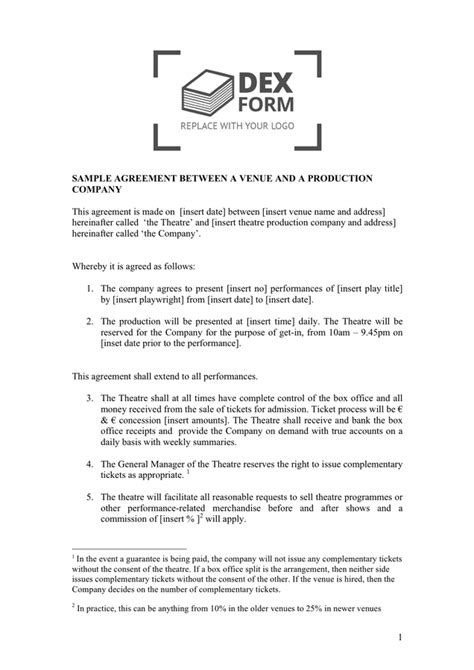 co production agreement template sle agreement between a venue and a production company