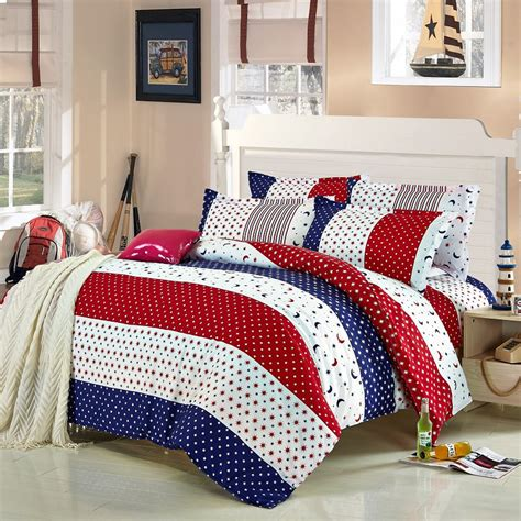 red and white comforters 4pcs twin full size red white blue striped bedding blue