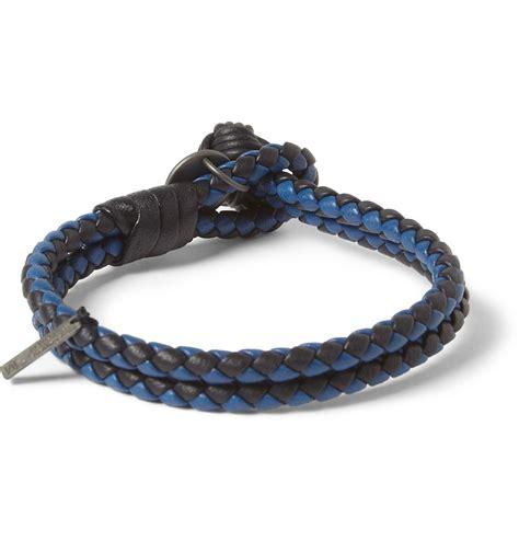 Bottega Bracelet bottega veneta twotone intrecciato leather bracelet in blue for lyst