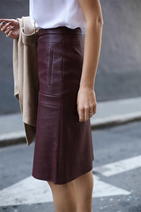 burgundy leather skirt for work memorandum
