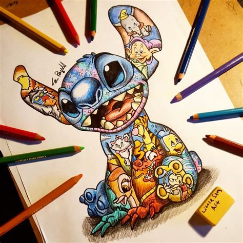 tattooed disney characters stitch design littlesamsart disney tattoos