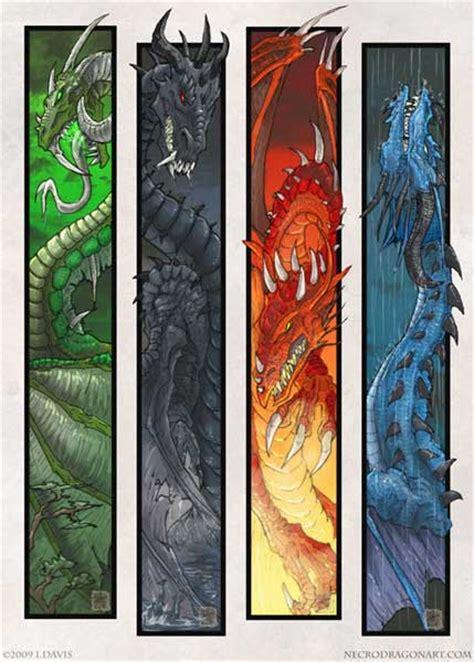 printable dragon bookmarks four dragons
