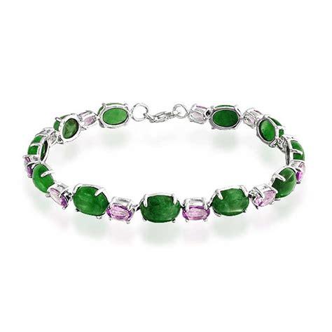 Green Jade Oval Gemstone 925 sterling silver oval gemstone link tennis bracelet