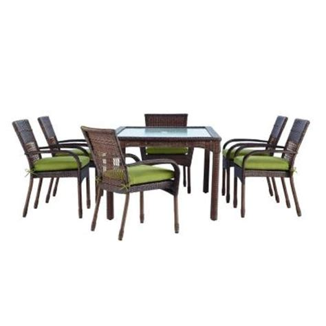Martha Stewart Patio Dining Set Martha Stewart Living Charlottetown Brown All Weather Wicker 7 Patio Dining Set With Green