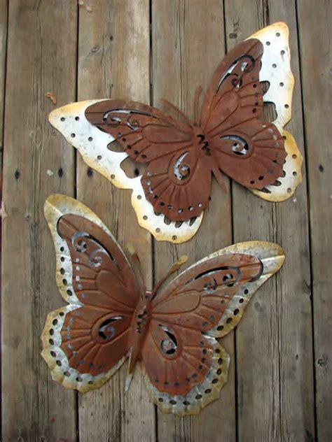butterfly galvanized metal wall decor set