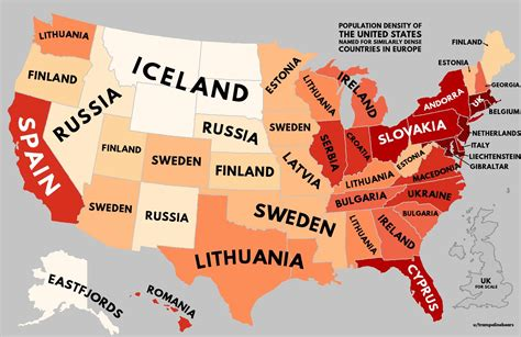 map of usa and europe population density of europe with u s equivalents