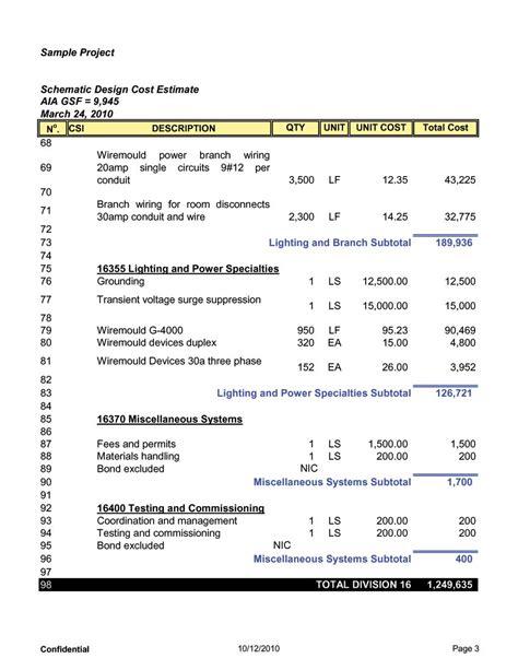 electrical estimate sle construction report