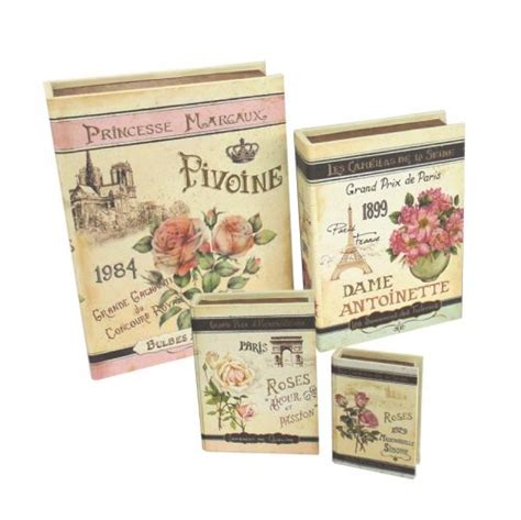 french martini secret book box wooden book box floral french design set gifts ideas