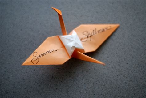 Origami Name Card - birds of happiness origami crane place card