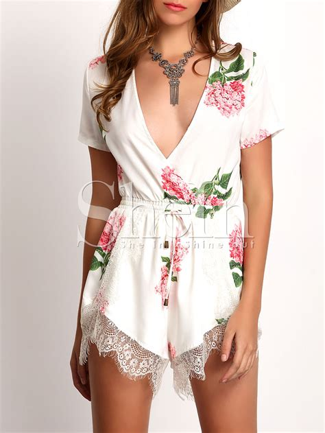 V Neck Crochet Jumpsuit white plunge v neck floral print crochet lace jumpsuit shein sheinside