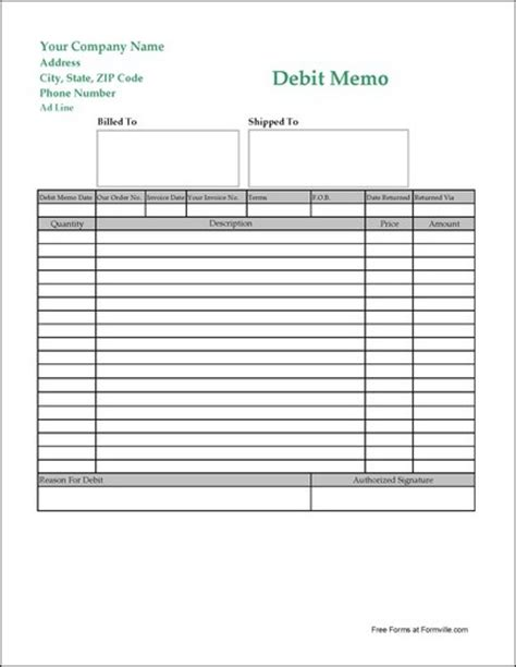 free easy read long debit memo from formville