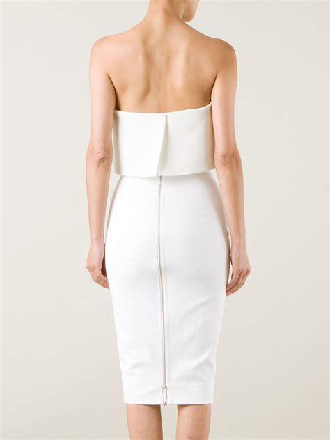 Beckham Dress lyst beckham strapless bustier dress in white