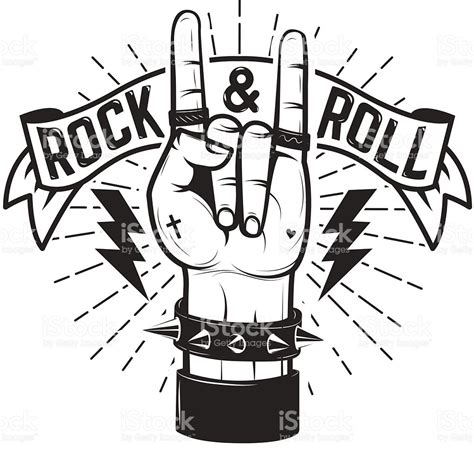 imagenes vectores rock rock and roll se 241 al de pare mano humana con metales