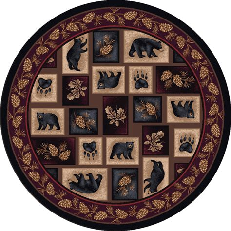 Wildlife Rugs: 8 Ft. Round Bear Patch Rug Black Forest Decor