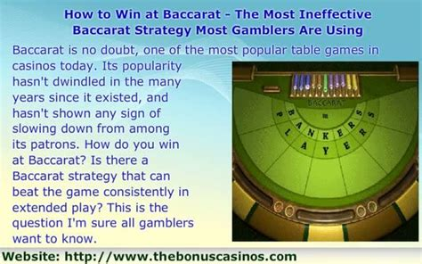 how to win at how to win at baccarat the most ineffective baccarat strategy most gamblers are using on vimeo