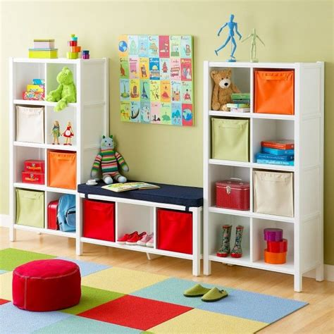 white eight cube bookcase and cube bench playroom storage