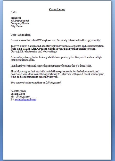 cover letter freshers