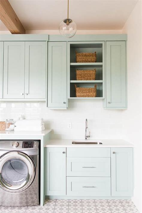 L Shaped Laundry Room With Gray Cabinets Contemporary Laundry Room Cabinet