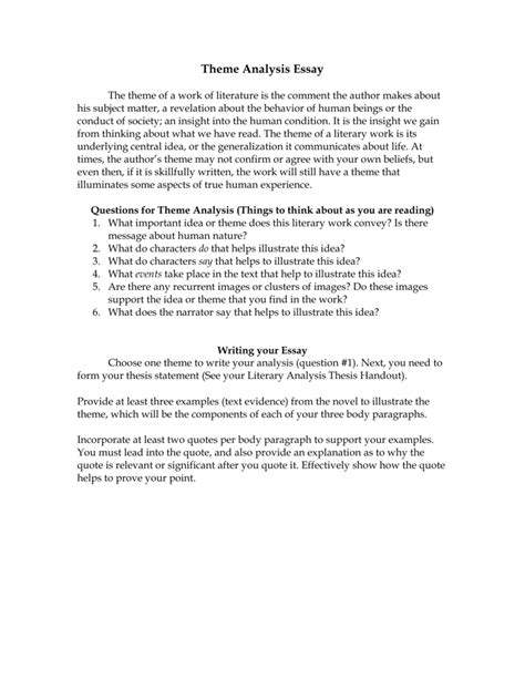 literary theme essay exle theme analysis essay theme analysis essay theme analysis