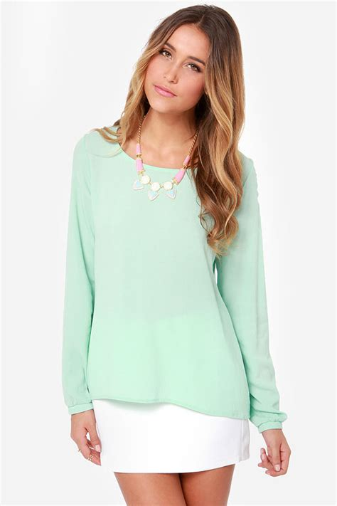 Ar03 Galery Top Mint sleeve top mint green top mint blouse 46 00
