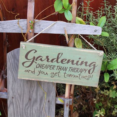 Garden Signs by Garden Sign Gardening Cheaper Than Therapy Blue Sky