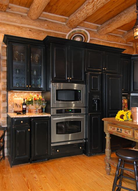 Rustic Black Kitchen Cabinets Rustic Log Cabin Kitchen