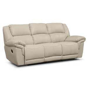 farrell almond leather dual reclining sofa furniture