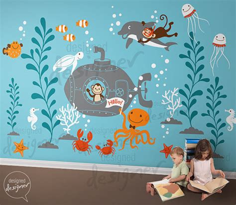 toddler wall stickers 6 underwater world leafy dreams nursery decals