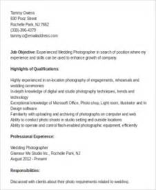 Commercial Photographer Resume by Sle Photographer Resume 9 Exles In Word Pdf