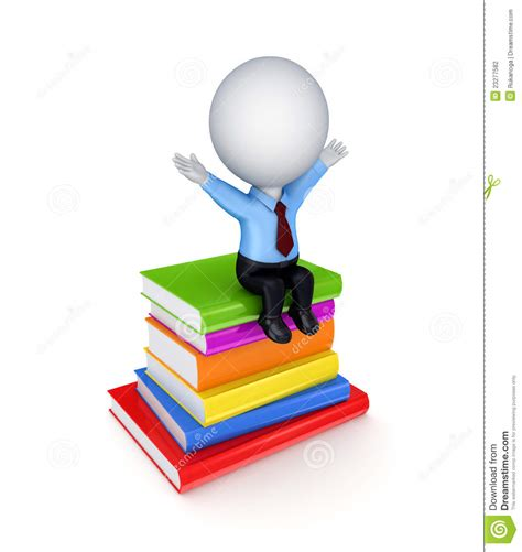 of the person books 3d small person sitting on a stack of books stock