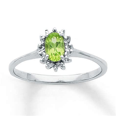 Ring Peridot peridot ring oval cut with diamonds sterling silver