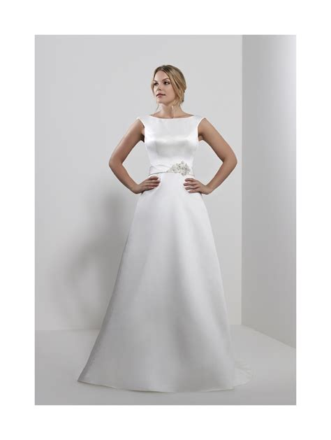 romantica shauna satin a line bridal gown with belt detail