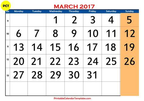 march 2017 calendar printable printable calendar templates