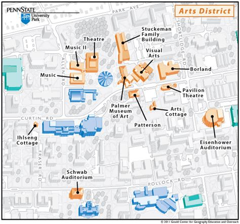 psu parking map cultural district map college of arts and architecture