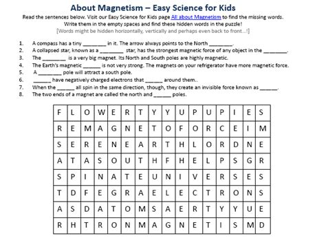 Magnetism Worksheets by Image Gallery Magnetism Activities