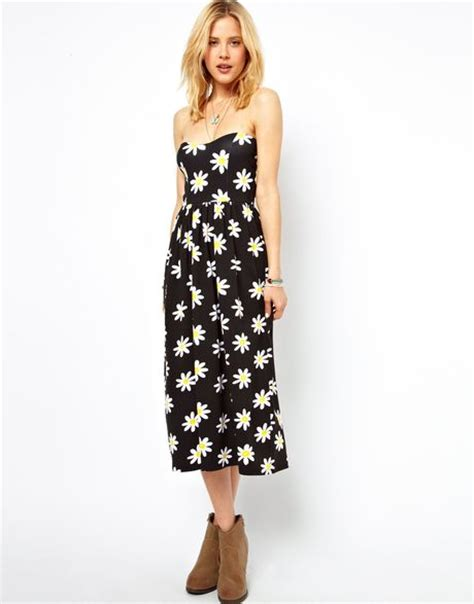 Print Midi Sundress asos midi bandeau sundress in print in black lyst